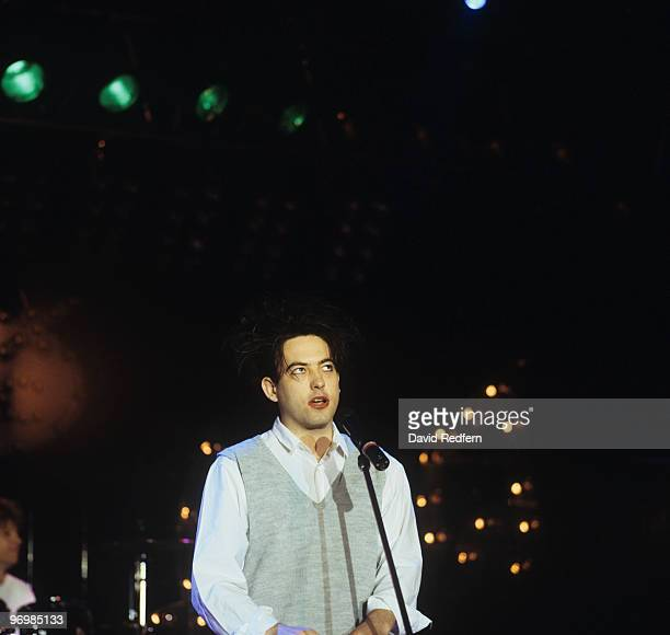 Robert Smith of The Cure performs on stage at the Montreux Rock Festival held in Montreux Switzerland in May 1987