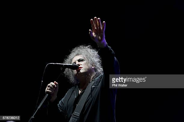 Robert Smith of The Cure performs on stage at Vector Arena on July 21 2016 in Auckland New Zealand