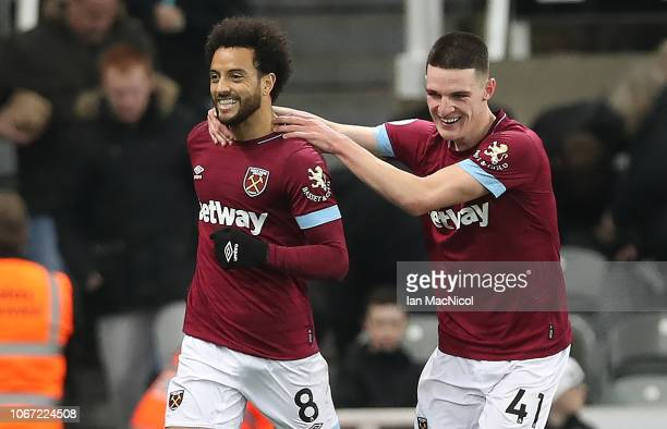 Robert Snodgrass is seen as Felipe Anderson of West Ham United celebrates after he scores his sides third goal during the Premier League match...