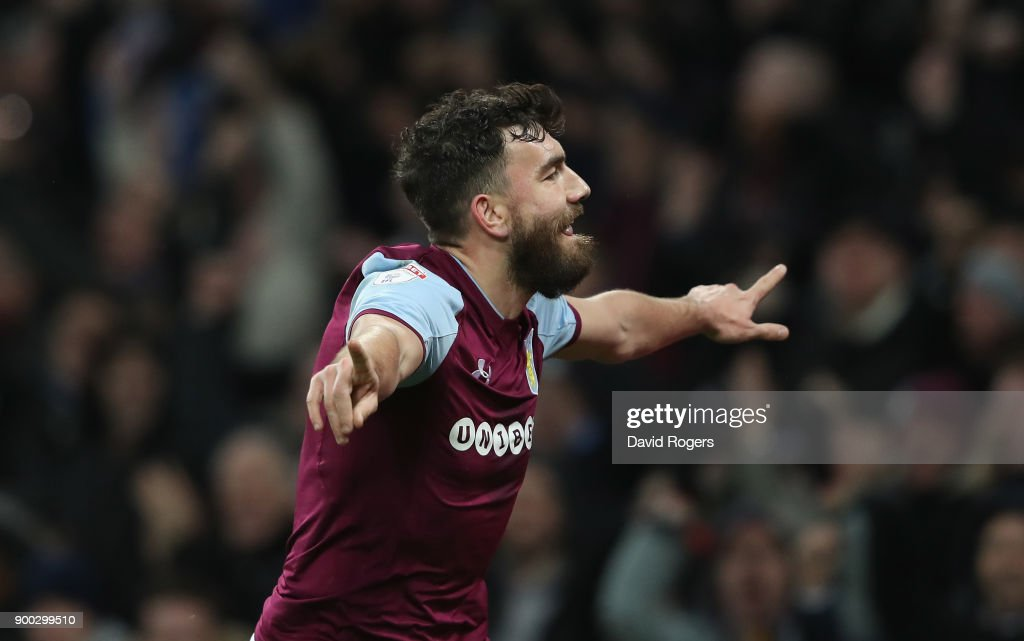 Robert Snodgrass of Aston Villa celebrates after scoring their second goal during the Sky Bet Championship match between Aston Villa and Bristol City at Villa Park on January 1, 2018 in Birmingham, England.