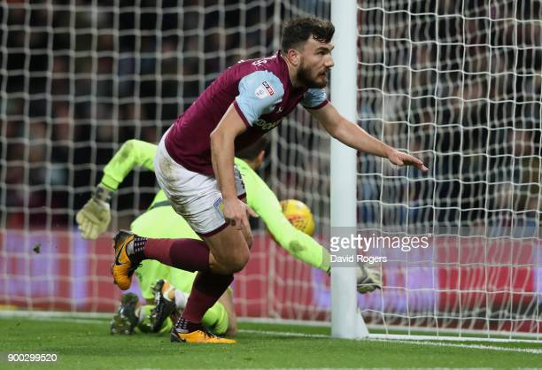 Robert Snodgrass of Aston Villa celebrates after scoring their second goal during the Sky Bet Championship match between Aston Villa and Bristol City...