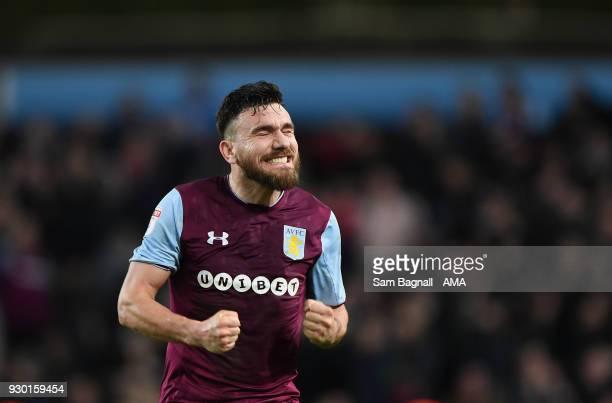 Robert Snodgrass of Aston Villa celebrates at full time during the Sky Bet Championship match between Aston Villa and Wolverhampton Wanderers at...