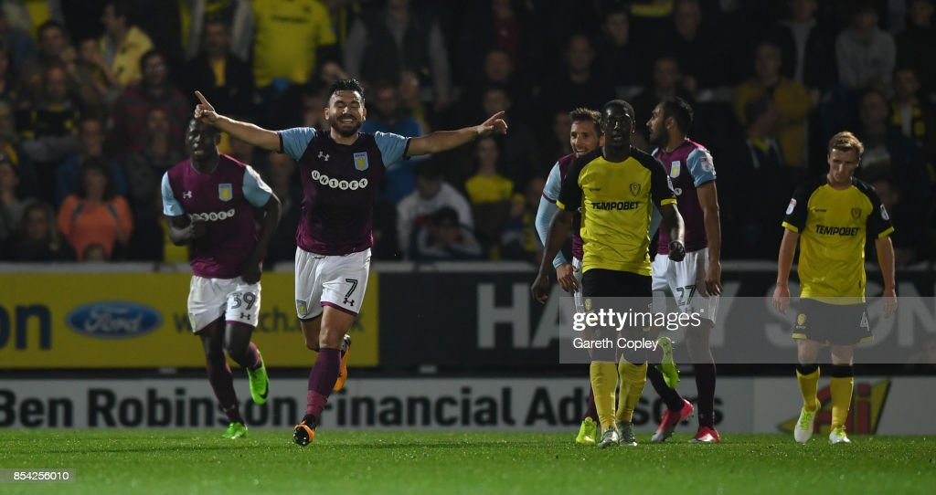 Robert Snodgrass of Aston Villa celebrates scoring his team's 3rd goal during the Sky Bet Championship match between Burton Albion and Aston Villa at Pirelli Stadium on September 26, 2017 in Burton-upon-Trent, England.