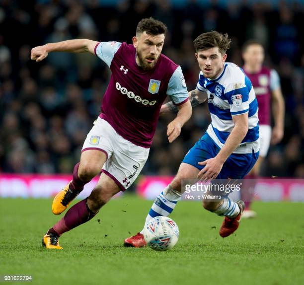 Robert Snodgrass of Aston Villa during the Sky Bet Championship match between Aston Villa and Queens Park Rangers at Villa Park on March 13 2018 in...