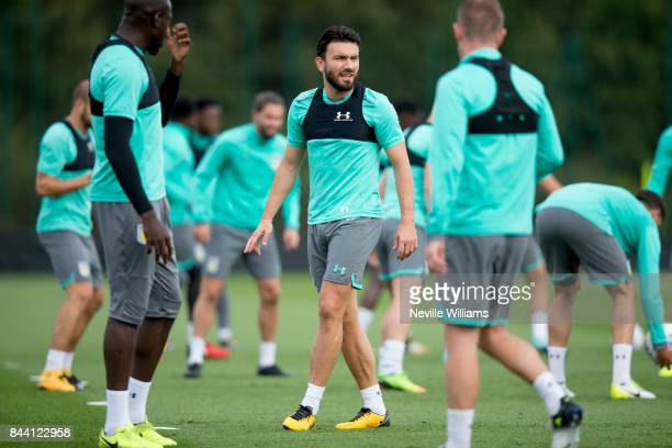 Robert Snodgrass of Aston Villa in action during a training session at the club's training ground at Bodymoor Heath on September 08 2017 in...