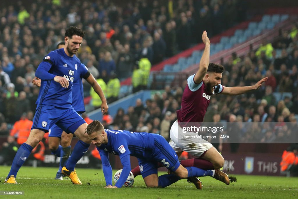 Robert Snodgrass of Aston Villa is deemed to have not been fouled by Joe Bennett of Cardiff City as Aston Villas shouts for a penalty go unanswered during the Premier League match between Leicester City and Newcastle United at The King Power Stadium on April 7, 2018 in Leicester, England.
