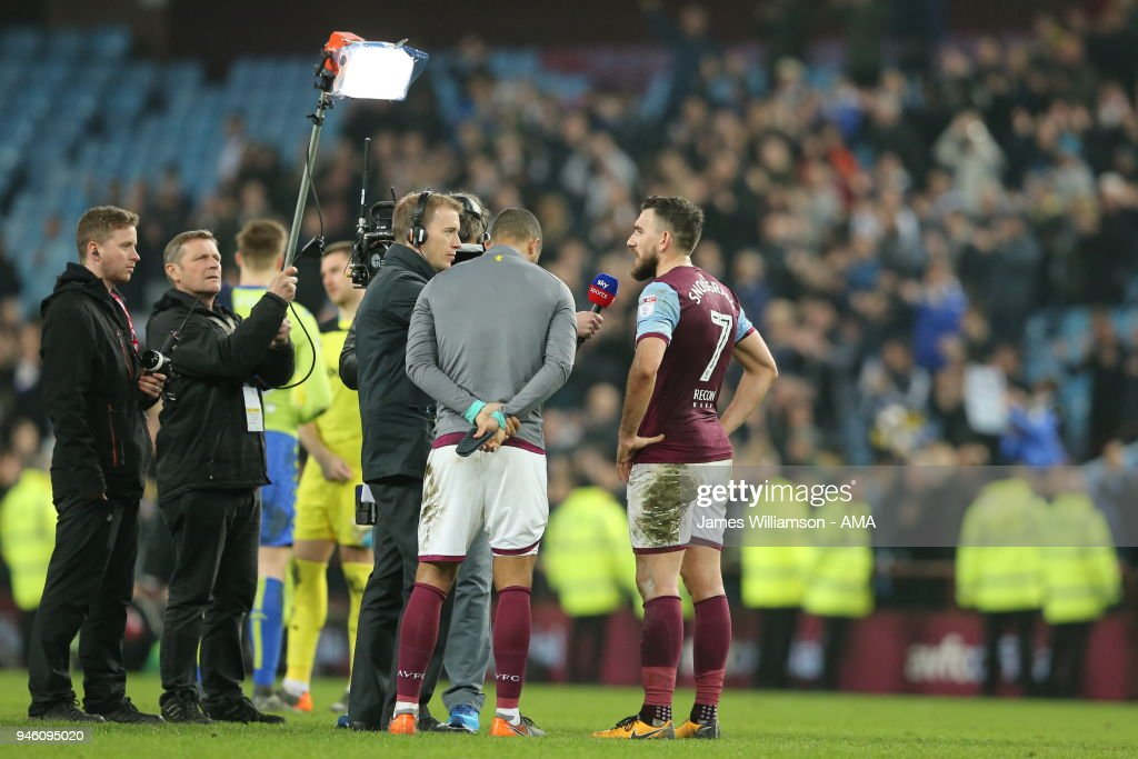 Robert Snodgrass of Aston Villa is interviewed by Sky Sports during the Sky Bet Championship match between Aston Villa and Leeds United at Villa Park on April 13, 2018 in Birmingham, England.