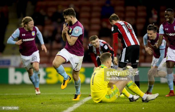 Robert Snodgrass of Aston Villa scores for Aston Villa during the Sky Bet Championship match between Sheffield United and Aston Villa at Bramall Lane...