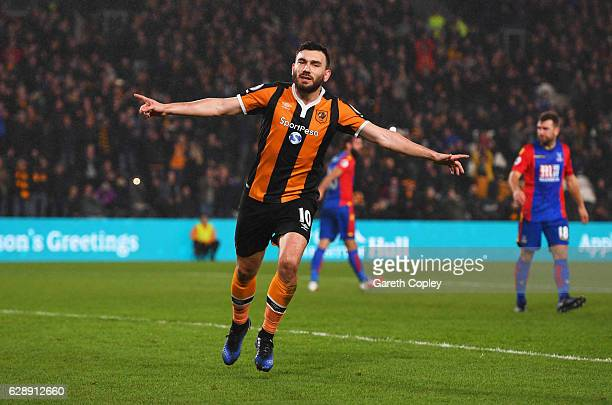 Robert Snodgrass of Hull City celebrates as he scores the first goal from a penalty during the Premier League match between Hull City and Crystal...
