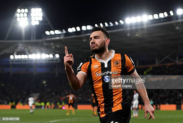 Robert Snodgrass of Hull City celebrates as he scores their frst goal during the EFL Cup QuarterFinal match between Hull City and Newcastle United at...