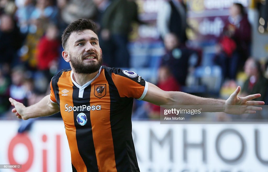 Robert Snodgrass of Hull City celebrates scoring his sides first goal during the Premier League match between Burnley and Hull City at Turf Moor on September 10, 2016 in Burnley, England.