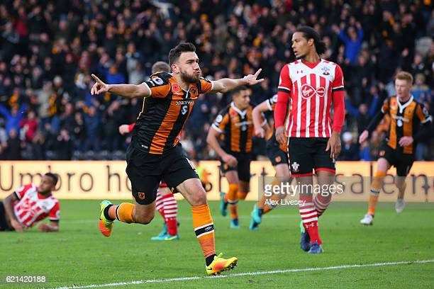 Robert Snodgrass of Hull City celebrates scoring his sides first goal during the Premier League match between Hull City and Southampton at KC Stadium...