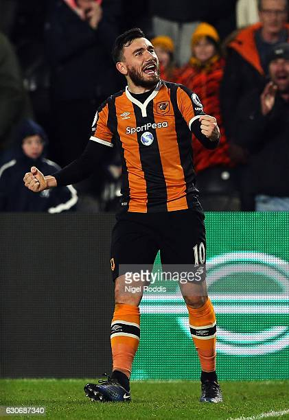 Robert Snodgrass of Hull City celebrates scoring his team's second goal during the Premier League match between Hull City and Everton at KCOM Stadium...