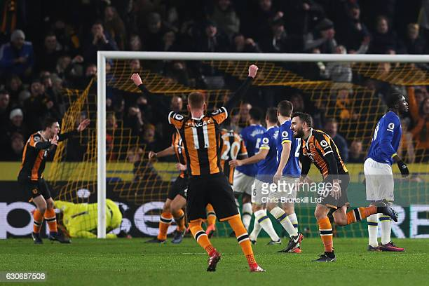 Robert Snodgrass of Hull City celebrates scoring his team's second goal during the Premier League match between Hull City and Everton at KC Stadium...