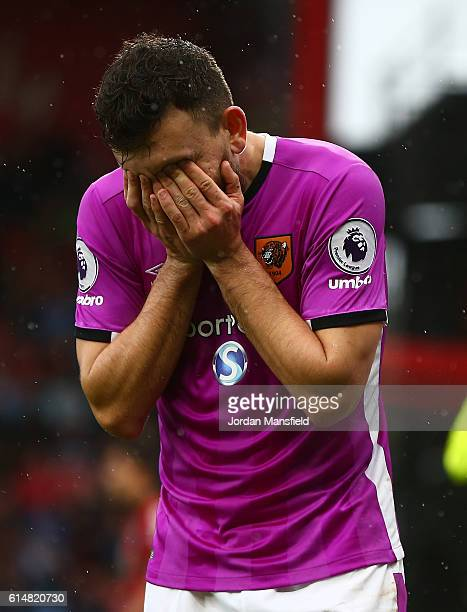 Robert Snodgrass of Hull City reacts during the Premier League match between AFC Bournemouth and Hull City at Vitality Stadium on October 15 2016 in...