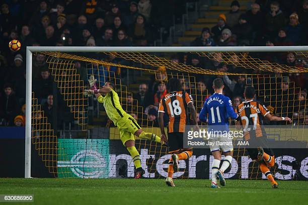 Robert Snodgrass of Hull City scores a goal to make it 21 during the Premier League match between Hull City and Everton at KC Stadium on December 30...
