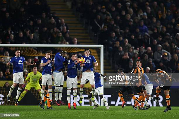 Robert Snodgrass of Hull City scores his team's second goal during the Premier League match between Hull City and Everton at KC Stadium on December...
