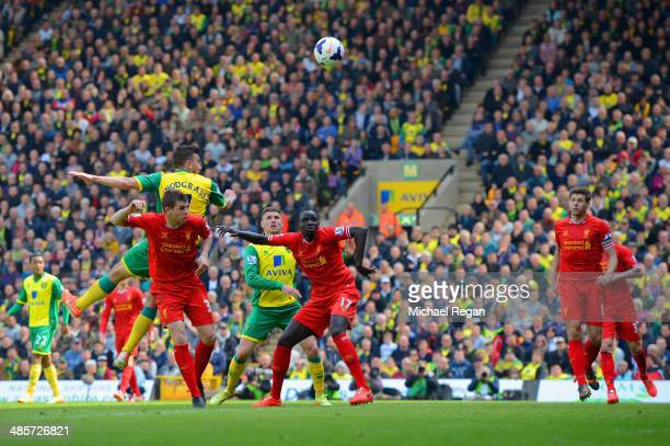 Robert Snodgrass of Norwich City scores their second goal during the Barclays Premier League match between Norwich City and Liverpool at Carrow Road...