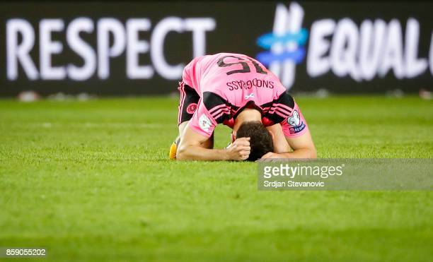 Robert Snodgrass of Scotland looks dejected after the FIFA 2018 World Cup Qualifier match between Slovenia and Scotland at stadium Stozice on October...