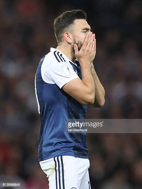 Robert Snodgrass of Scotland reacts during the FIFA 2018 World Cup Qualifier between Scotland and Lithuania at Hampden Park on October 8 2016 in...