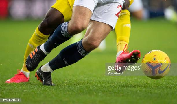 Robert Snodgrass of West Bromwich Albion and André-Frank Zambo Anguissa of Fulham during the Premier League match between West Bromwich Albion and...