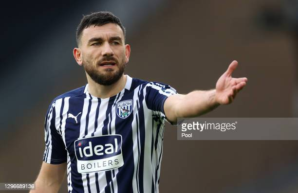 Robert Snodgrass of West Bromwich Albion reacts during the Premier League match between Wolverhampton Wanderers and West Bromwich Albion at Molineux...