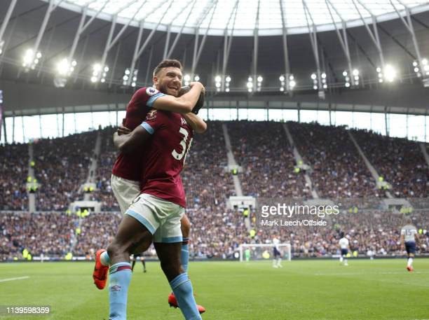 Robert Snodgrass of West Ham celebrates the winning goal with Michail Antonio during the Premier League match between Tottenham Hotspur and West Ham...
