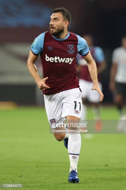 Robert Snodgrass of West Ham during the match between West Ham United and Charlton Athletic at London Stadium on September 15 2020 in London England