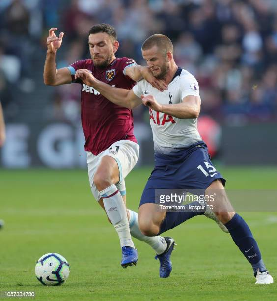 Robert Snodgrass of West Ham United and Eric Dier of Tottenham Hotspur during the Premier League match between West Ham United and Tottenham Hotspur...
