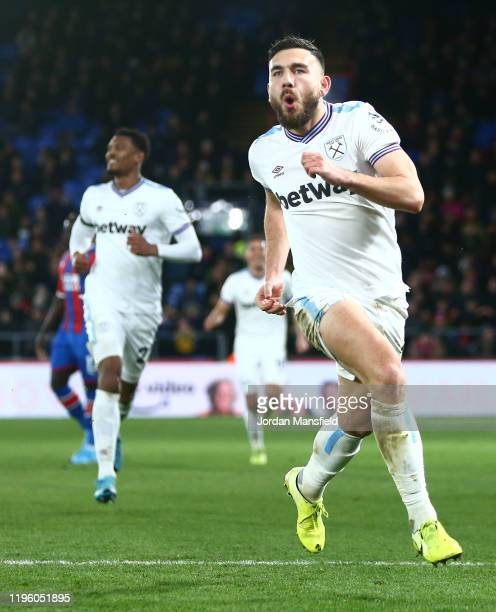 Robert Snodgrass of West Ham United celebrates after scoring his sides first goal during the Premier League match between Crystal Palace and West Ham...