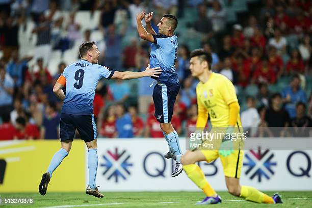 Robert Stambolziev of Sydney FC celebrates with team mates after scoring a goal during the AFC Champions League match between Sydney FC and Guangzhou...