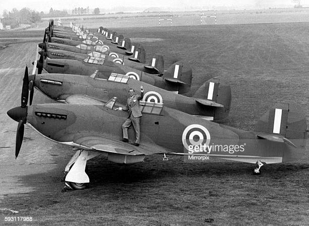 Robert Stanford Tuck fighter ace from WW2 standing next to a row of hurricanes and spitfires to be used in the film 'The Battle of Britain' 19th...