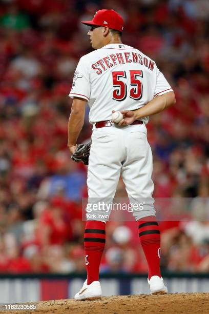Robert Stephenson of the Cincinnati Reds pitches during the game against the St. Louis Cardinals at Great American Ball Park on July 18, 2019 in...