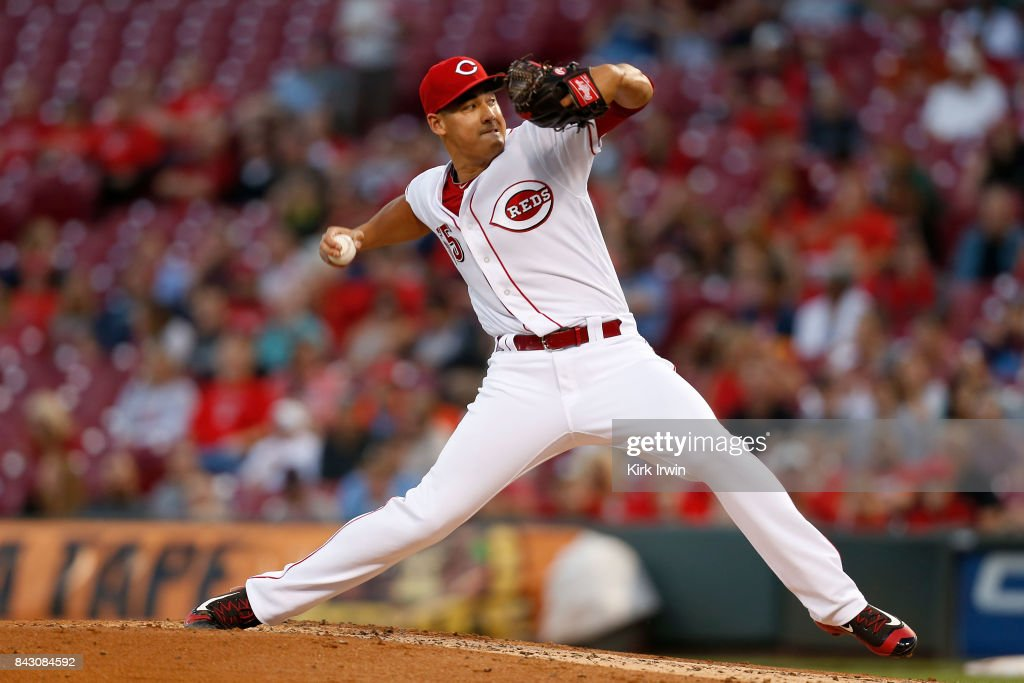 Robert Stephenson #55 of the Cincinnati Reds throws a pitch during the third inning of the game against the Milwaukee Brewers at Great American Ball Park on September 5, 2017 in Cincinnati, Ohio.