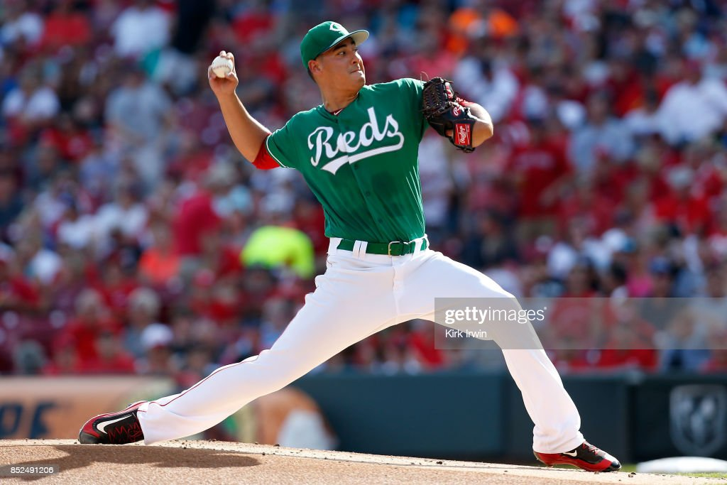 Robert Stephenson #55 of the Cincinnati Reds throws a pitch during the first inning of the game against the Boston Red Sox at Great American Ball Park on September 23, 2017 in Cincinnati, Ohio.