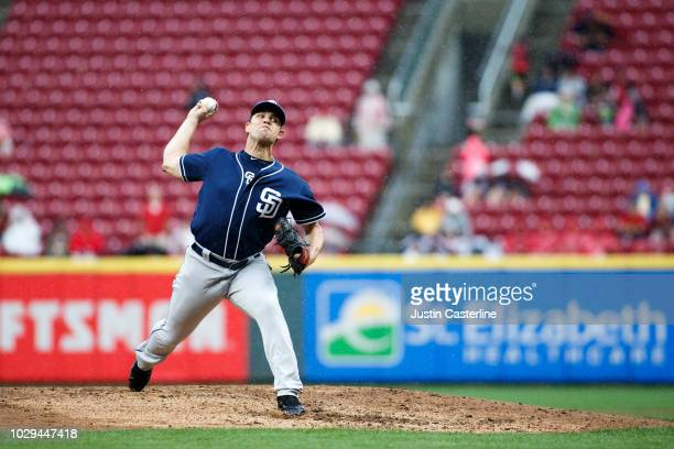 Robert Stock of the San Diego Padres throws a pitch in the fifth inning at Great American Ball Park on September 8 2018 in Cincinnati Ohio