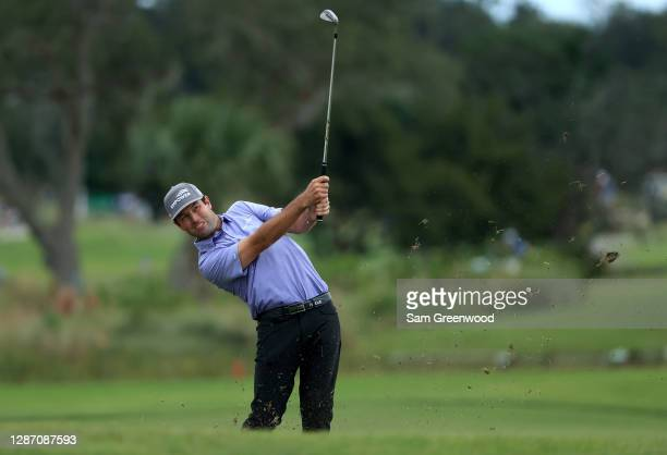 Robert Streb of the United States plays a shot on the 13th hole during the final round of The RSM Classic at the Seaside Course at Sea Island Golf...