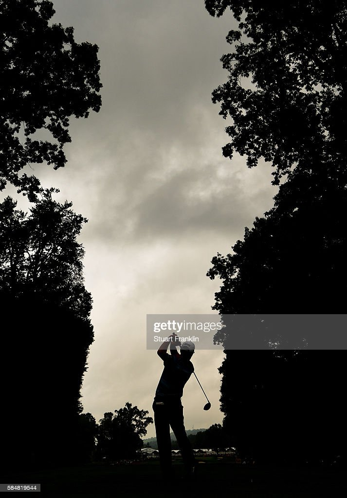 Robert Streb of the United States plays his shot from the fifth tee during the continuation of the weather delayed third round of the 2016 PGA Championship at Baltusrol Golf Club on July 31, 2016 in Springfield, New Jersey.