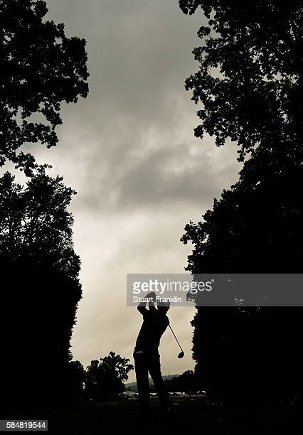 Robert Streb of the United States plays his shot from the fifth tee during the continuation of the weather delayed third round of the 2016 PGA...
