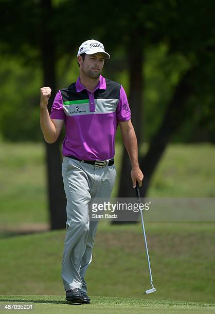 Robert Streb reacts to a birdie putt on the 2nd during the Final Round of the Zurich Classic of New Orleans at TPC Louisiana on April 27, 2014 in...