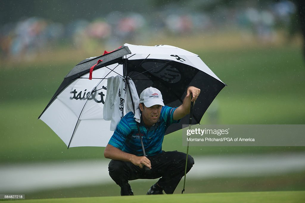 Robert Streb reads his putt on the 18th hole during the third round of the 98th PGA Championship held at the Baltusrol Golf Club on July 31, 2016 in Springfield, New Jersey.