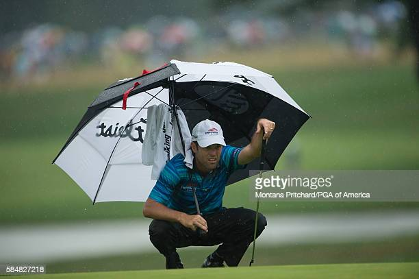 Robert Streb reads his putt on the 18th hole during the third round of the 98th PGA Championship held at the Baltusrol Golf Club on July 31, 2016 in...