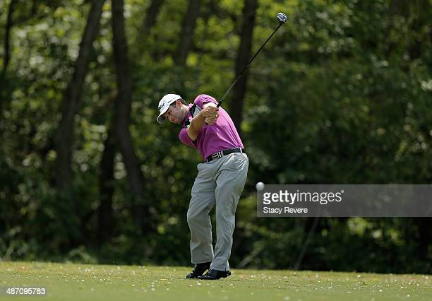 Robert Streb takes his shot on the 5th during the Final Round of the Zurich Classic of New Orleans at TPC Louisiana on April 27, 2014 in Avondale,...