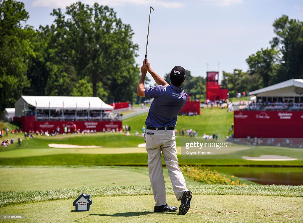 Robert Streb tees off on the 10th hole during the final round of the Quicken Loans National at Congressional Country Club (Blue) on June 26, 2016 in Bethesda, Maryland.