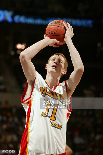 Robert Swift of the West shoots a free throw during the 2004 McDonald's High School All-American Game at Ford Center on May 31, 2004 in Oklahoma...