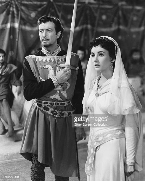Robert Taylor as Sir Wilfred of Ivanhoe and Elizabeth Taylor as Rebecca in 'Ivanhoe' directed by Richard Thorpe 1952