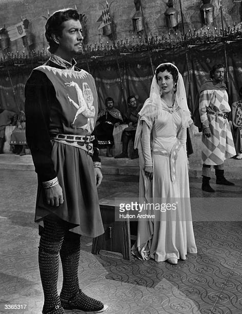 Robert Taylor playing the eponymous Ivanhoe in a scene from the 1952 film with leading lady Elizabeth Taylor and villain George Sanders