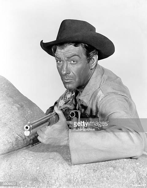 Robert Taylor plays an Indian scout in the MGM film 'Ambush' directed by Sam Wood for MGM