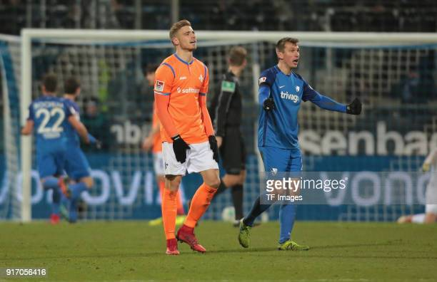 Robert Tesche of Bochum gestures and Felix Platte of Darmstadt looks on during the Second Bundesliga match between VfL Bochum 1848 and SV Darmstadt...