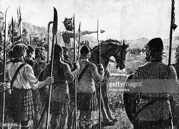 Robert the Bruce King Robert I of Scotland addresses his troops before the Battle of Bannockburn in Scotland 23rd June 1314 Here Bruce won a decisive...